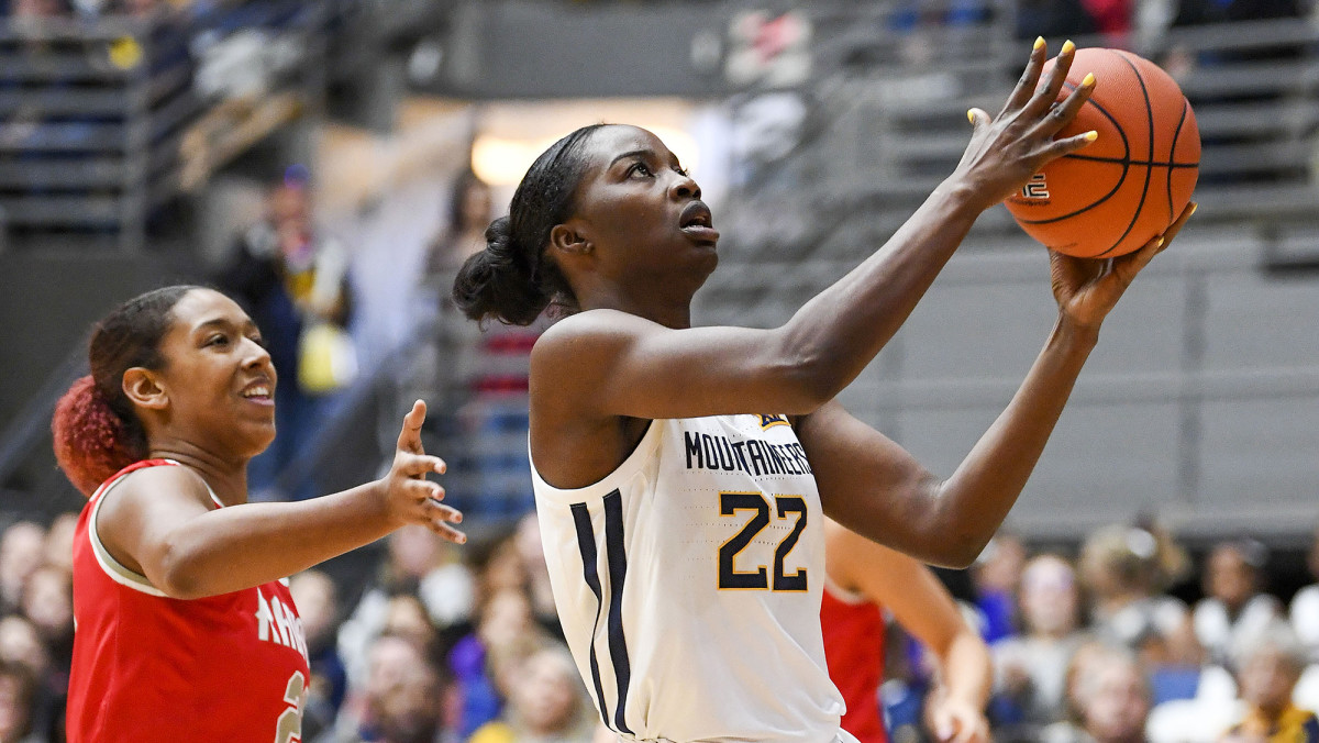 After a wending journey, Ejiofor ended up in Morgantown, where she started 20 games for the 17–12 Mountaineers.