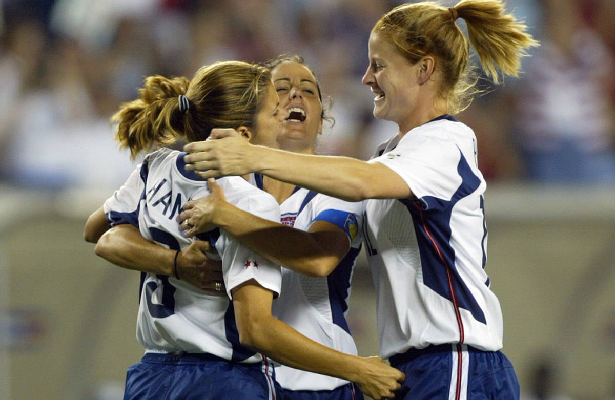 Mia Hamm, Julie Foudy and Cindy Parlow Cone