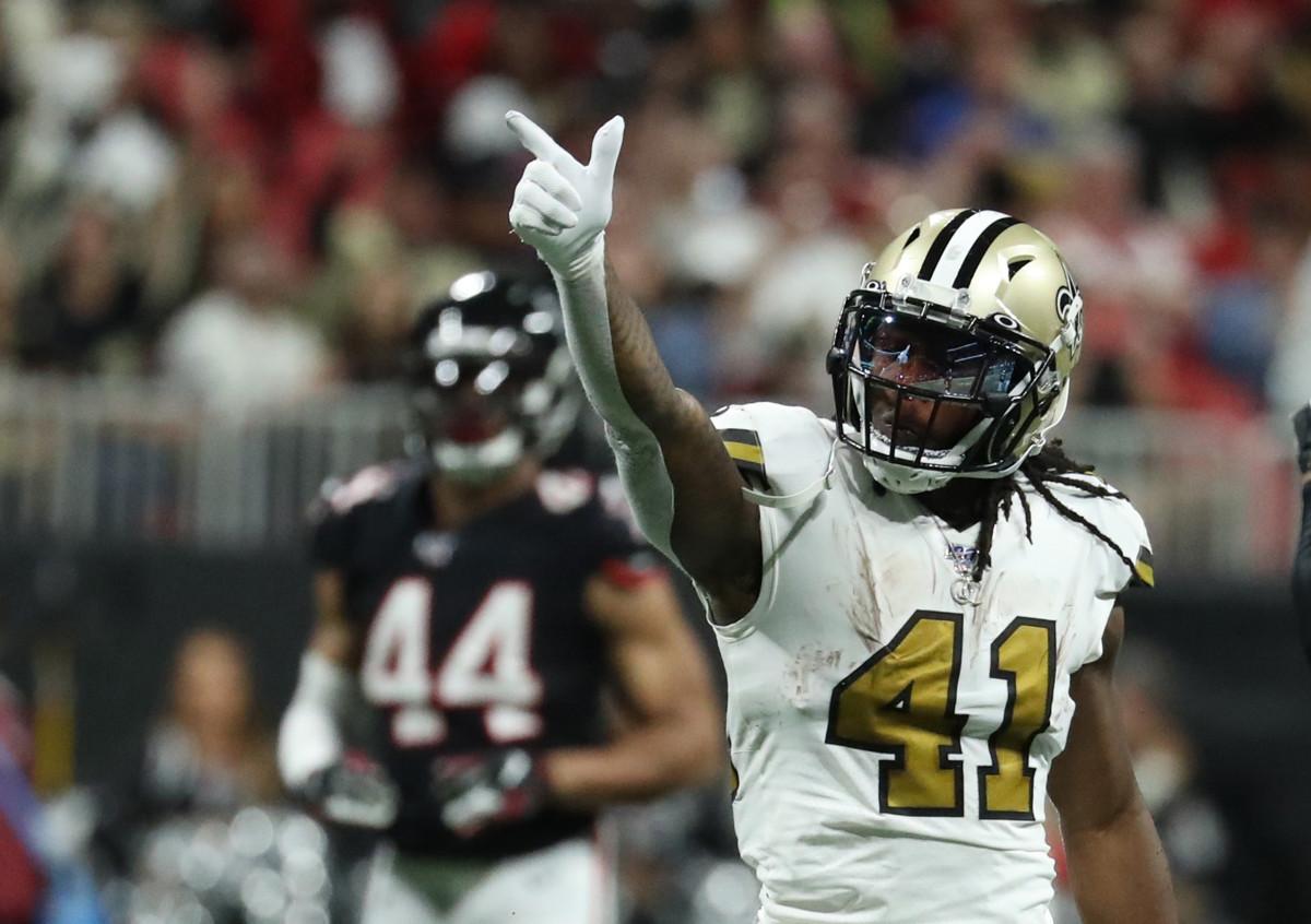 New Orleans Saints RB Alvin Kamara gets a first down versus the Atlanta Falcons