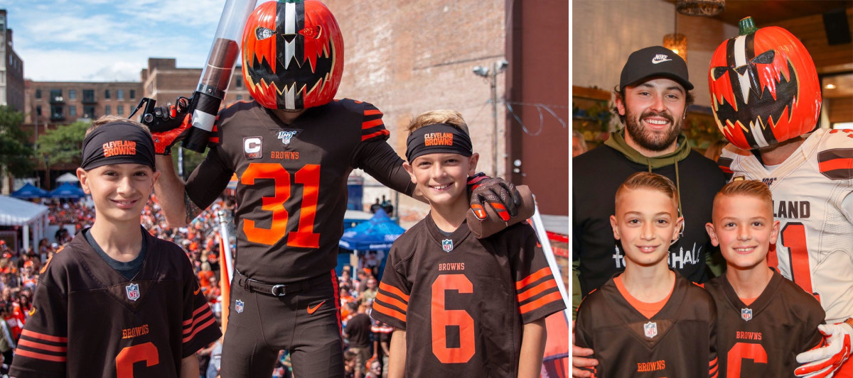 Gus Angelone, aka Pumpkinhead, and his sons at a game (left) and at a function with Baker Mayfield (right).