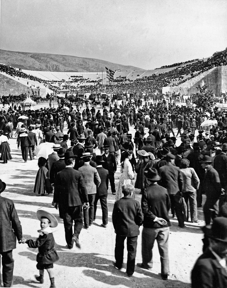 Spectators in April 1896 at the restored Panathenaic Stadium.