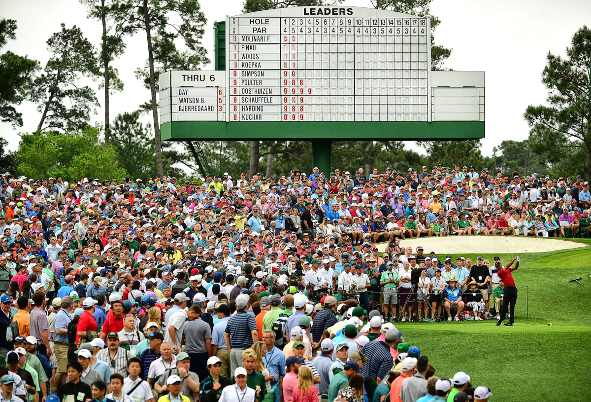 Woods charges back, at the third tee, on the final day of the Masters last April.