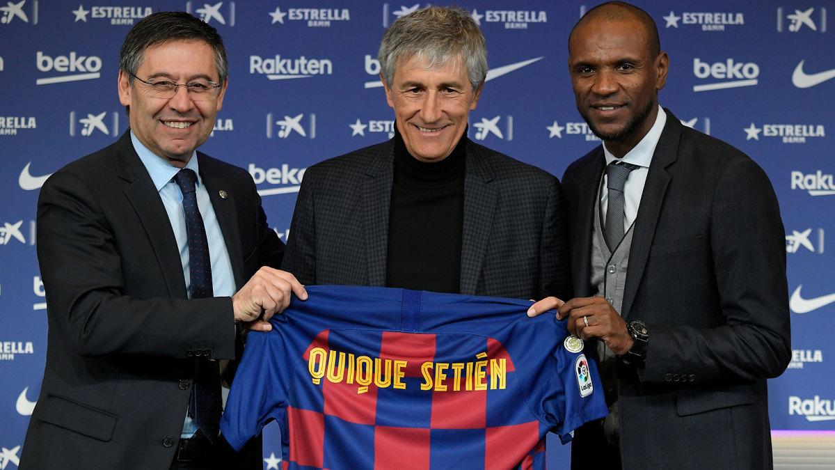 Barcelona's Josep Bartomeu, Quique Setien and Eric Abidal