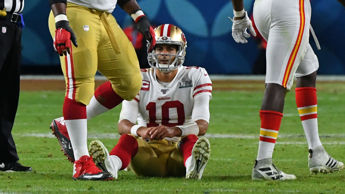 Jimmy Garoppolo reacts after a sack in the fourth quarter against the Kansas City Chiefs in Super Bowl LIV at Hard Rock Stadium.