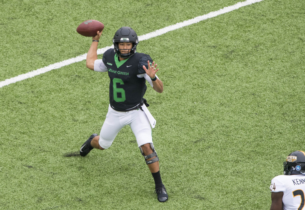 Oct 13, 2018; Denton, TX, USA; North Texas Mean Green quarterback Mason Fine (6) passes against the Southern Miss Golden Eagles during the first half at Apogee Stadium. Mandatory Credit: Jerome Miron-USA TODAY Sports