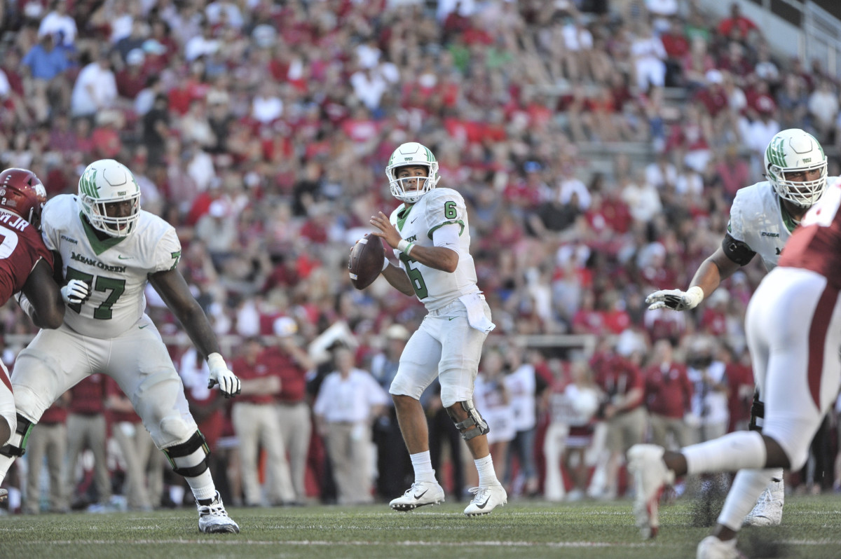 Sep 15, 2018; Fayetteville, AR, USA; North Texas Mean Green quarterback Mason Fine (6) during the second half against the Arkansas Razorbacks at Donald W. Reynolds Razorback Stadium. North Texas Mean Green defeated the Arkansas Razorbacks 44-17. Mandatory Credit: Justin Ford-USA TODAY Sports