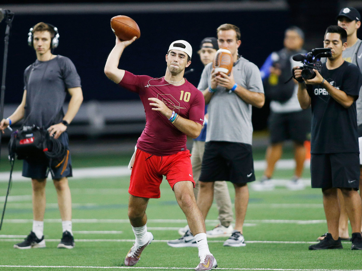 Quarterback Drew Pyne throws a pass in the 7 on 7 tournament 'The Opening' in July 2019.