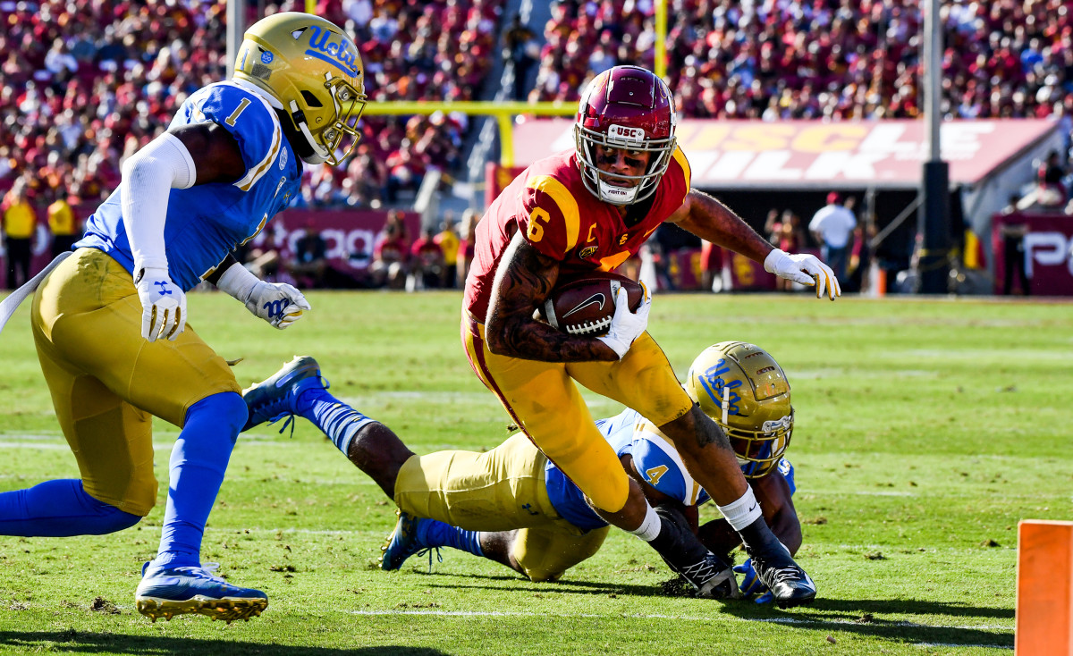 Pittman Jr.'s haul against UCLA last November: 13 catches, 104 yards and two TDs.