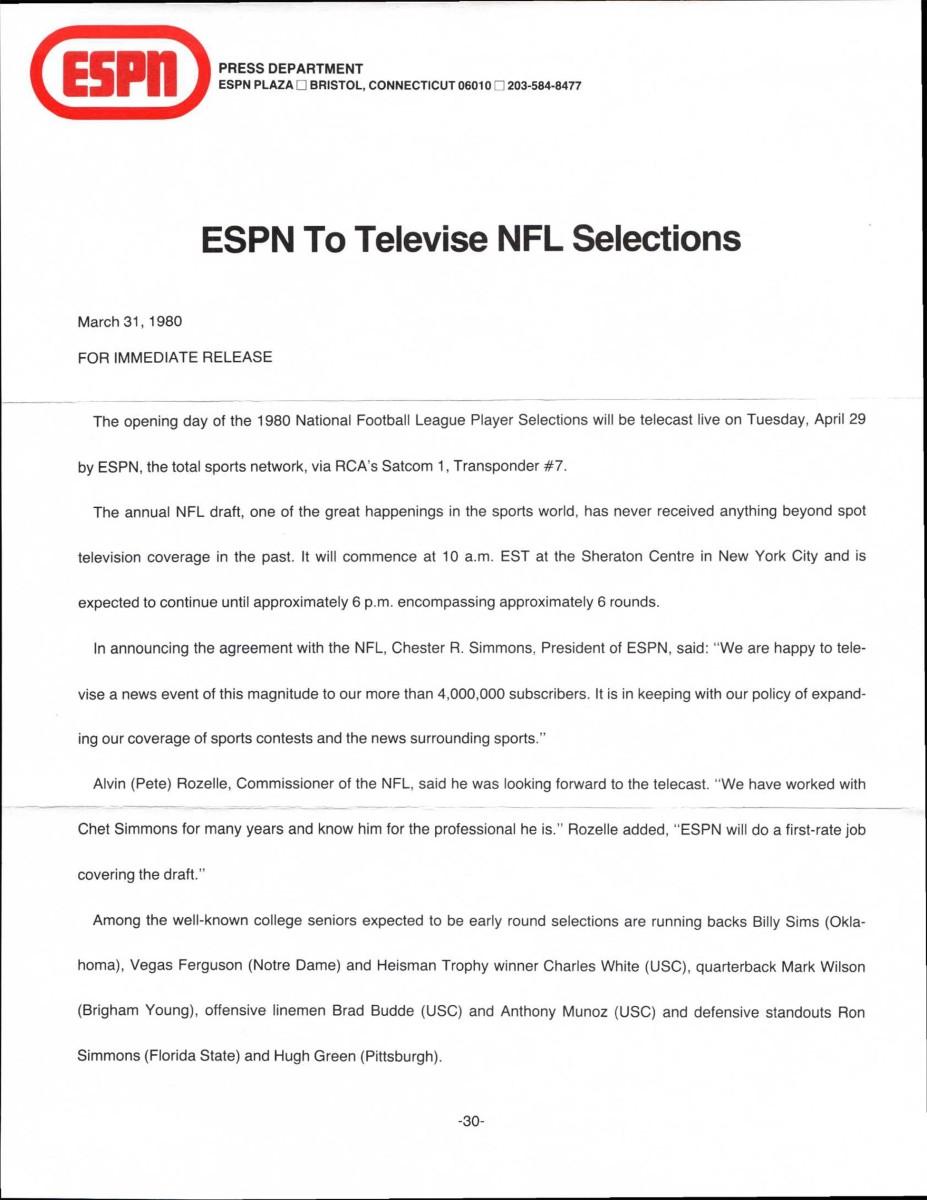 ESPN's press release.