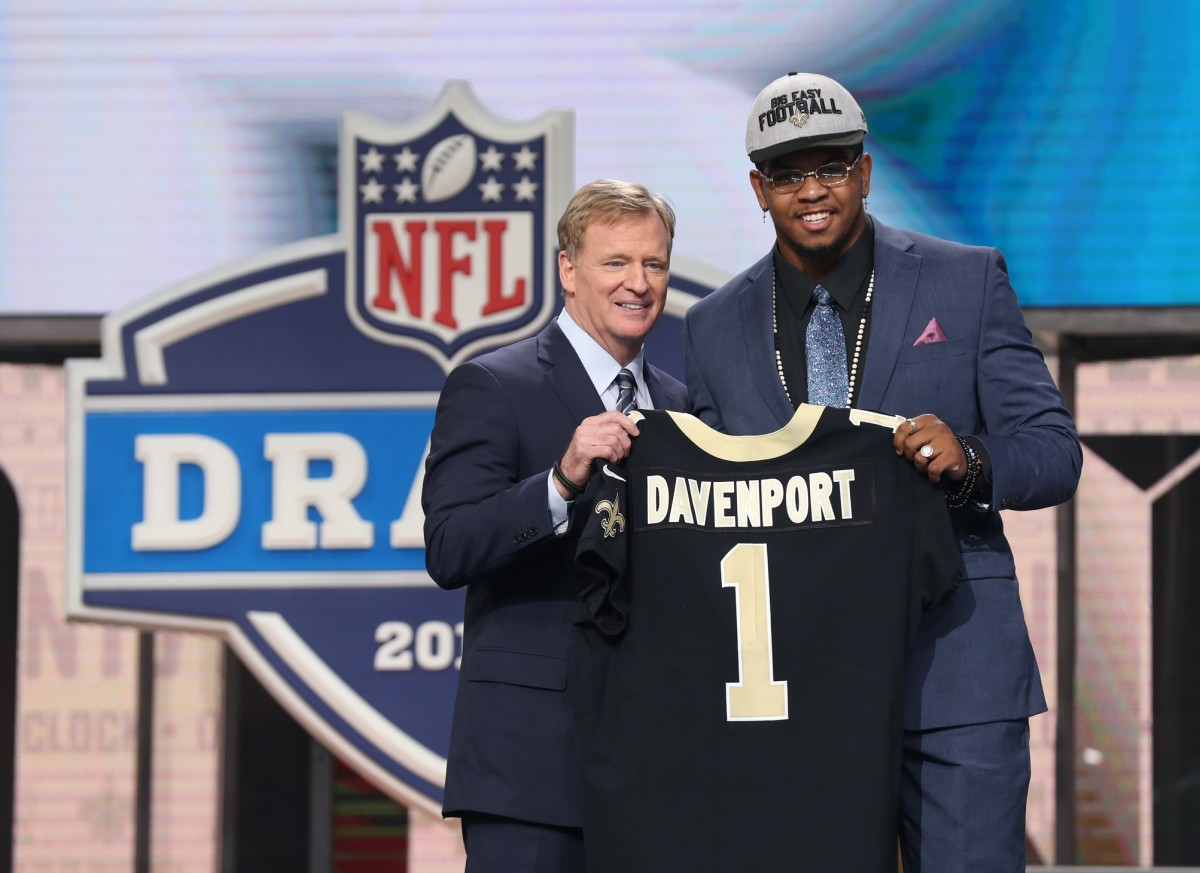 Apr 26, 2018; Arlington, TX, USA; NFL commissioner Roger Goodell with Marcus Davenport as selected as the number fourteen overall pick to the Tampa Bay Buccaneers in the first round of the 2018 NFL Draft at AT&T Stadium. Mandatory Credit: Matthew Emmons-USA TODAY Sports