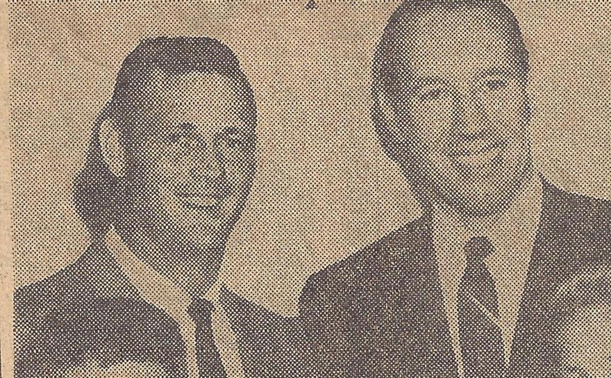 Frank with Bob Feller after Feller's speaking appearance in Tuscaloosa.