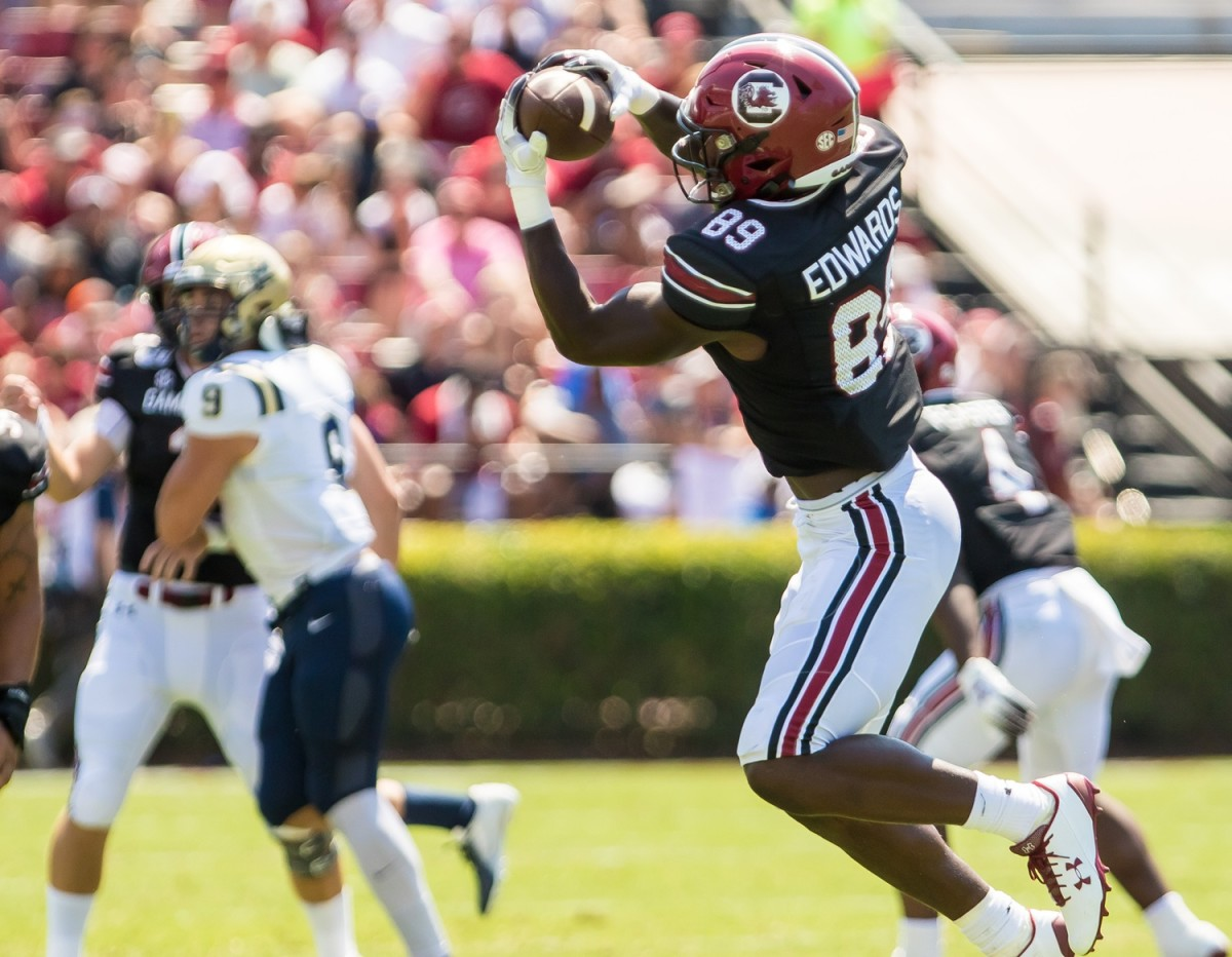 Sep 7, 2019; Columbia, SC, USA; South Carolina Gamecocks wide receiver Bryan Edwards (89) makes a reception against the Charleston Southern Buccaneers at Williams-Brice Stadium. Mandatory Credit: Jeff Blake-USA TODAY Sports