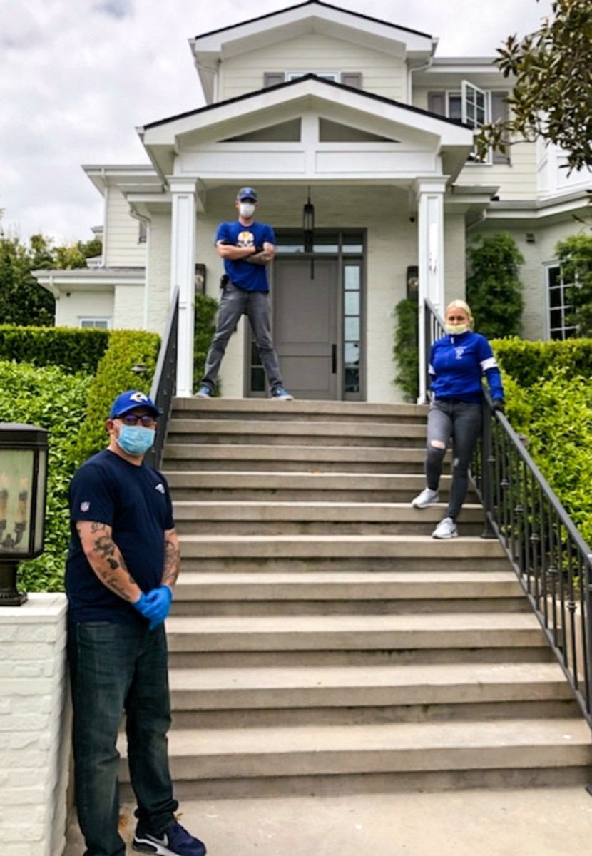 The Rams IT staff, at a different install, left to right: Boomer Williams, Jeff Graves, Eniko Somogyi (who was not at the Snead install).