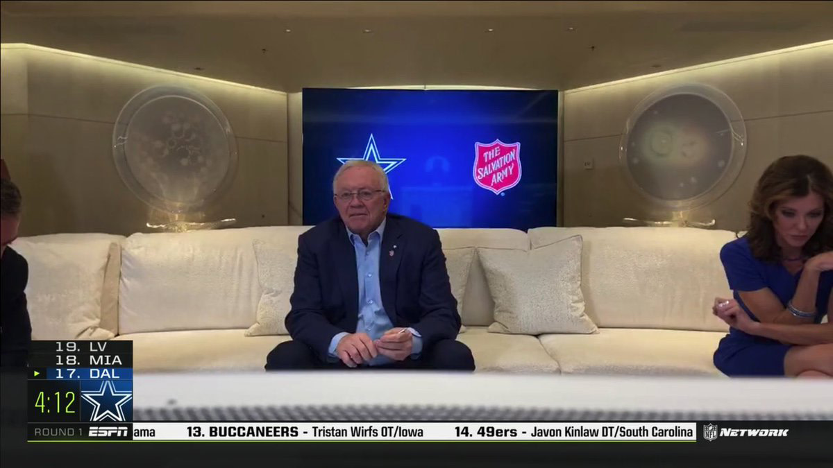 Jerry Jones aboard his $250 million yacht for the 2020 NFL draft