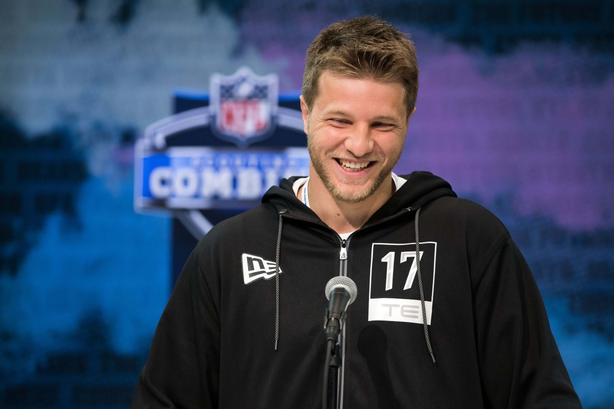 Adam Trautman talks with media at the 2020 NFL Combine