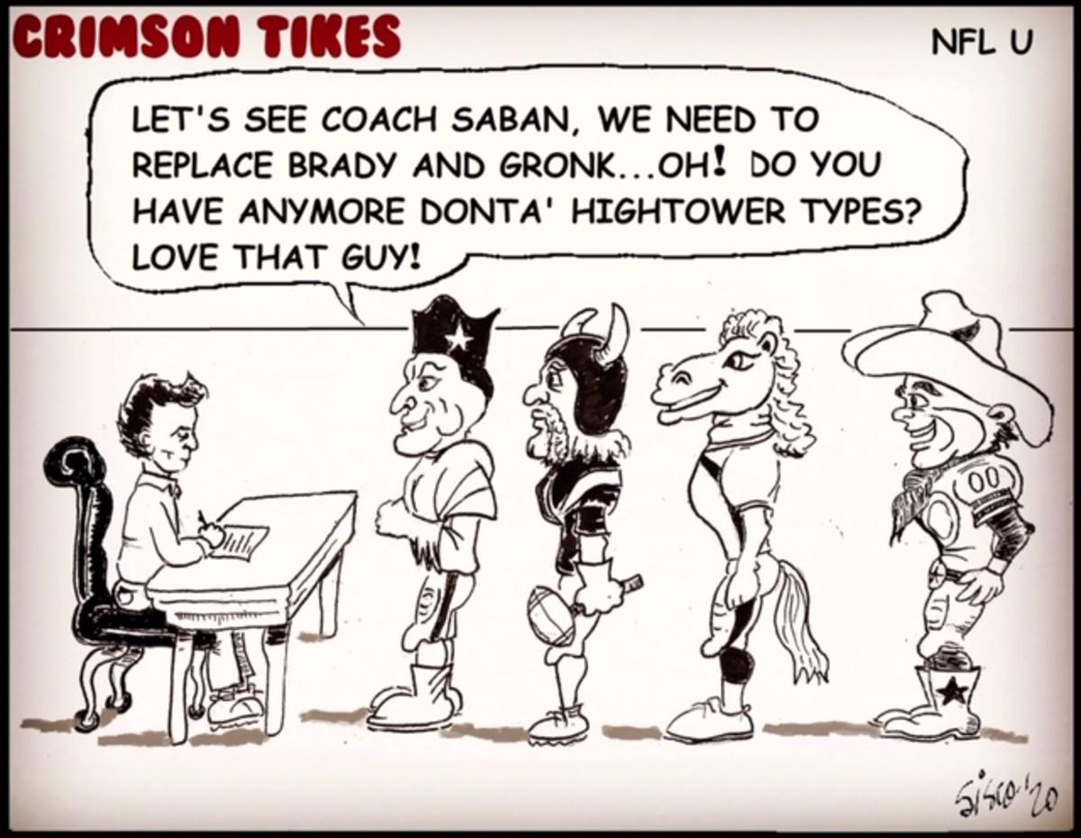 The Sunday cartoon, Crimson Tikes: NFL U