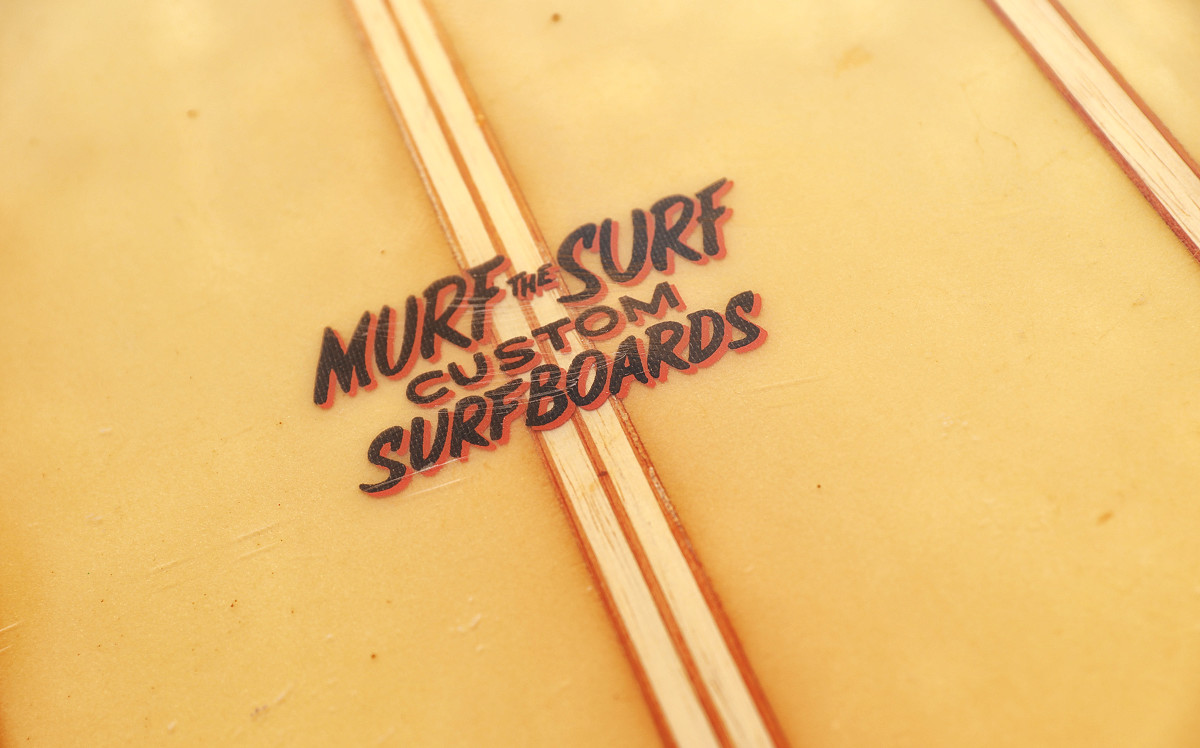 """Branding is important for Murph—or """"Murf"""" on his line of custom boards."""