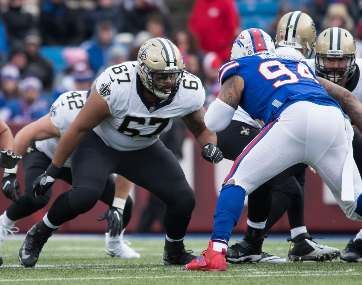 Nov 12, 2017; Orchard Park, NY, USA; New Orleans Saints offensive guard Larry Warford (67) prepares to block Buffalo Bills defensive tackle Jerel Worthy (94) during the third quarter at New Era Field. Mandatory Credit: Mark Konezny-USA TODAY Sports