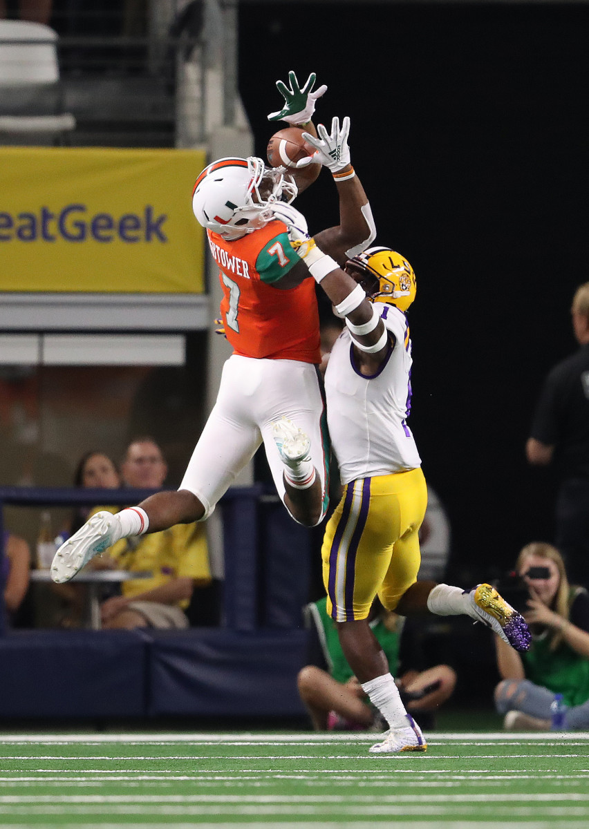 Brian Hightower (7) had eight receptions for 88 yards last season for Miami after being a four-star prospect in the 2018 recruiting class. Hightower announced his verbal commitment to transfer to Illinois on April 28, 2020.
