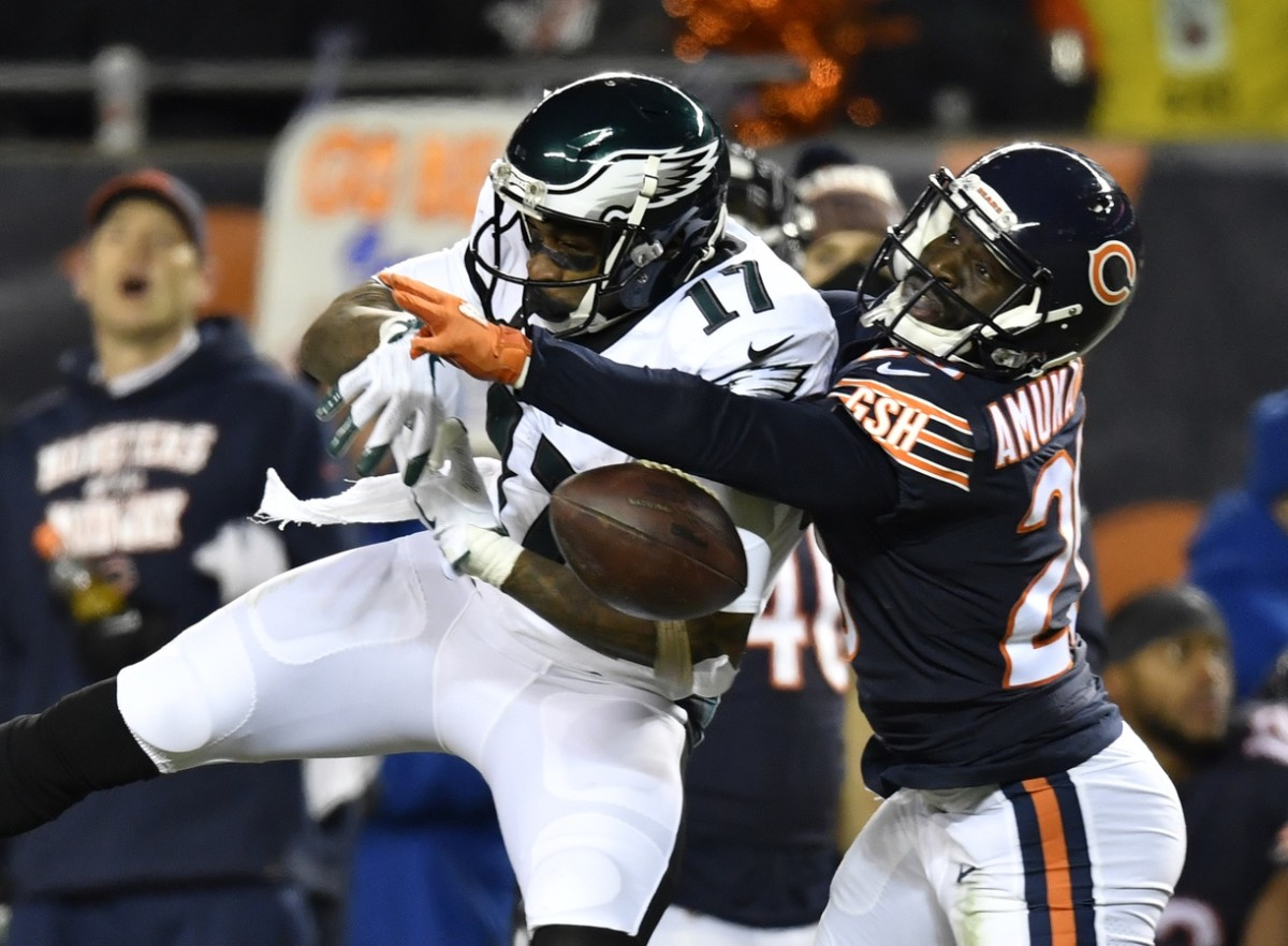 Jan 6, 2019; Chicago, IL, USA; Chicago Bears cornerback Prince Amukamara (20) breaks up a pass intended for Philadelphia Eagles wide receiver Alshon Jeffery (17) in the second half a NFC Wild Card playoff football game at Soldier Field. Mandatory Credit: Quinn Harris-USA TODAY Sports