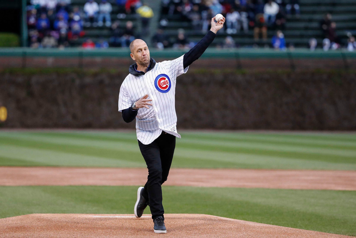 Gregg Berhalter throws out a first pitch at a Chicago Cubs game