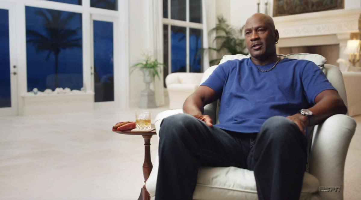 Screenshot from ESPN's 'The Last Dance' showing Michael Jordan's tequila glass