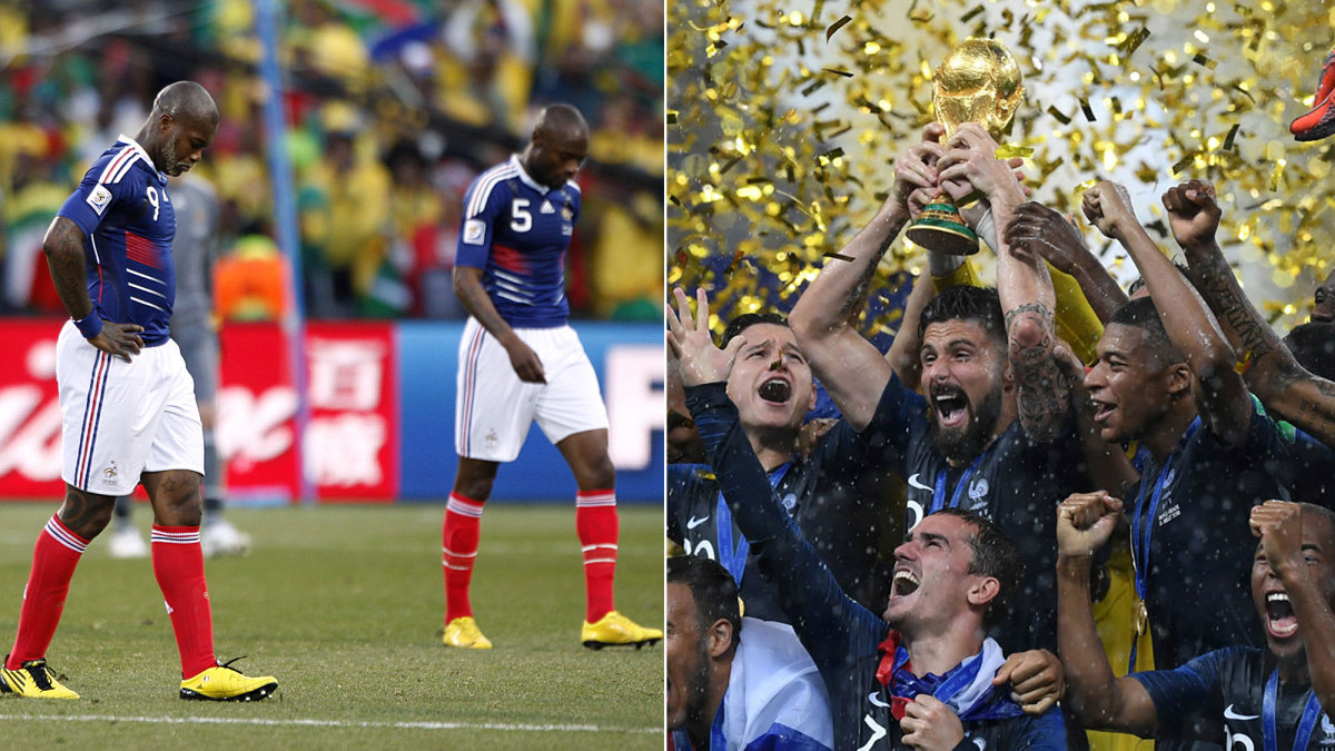 France was a disaster at the 2010 World Cup. In 2018, it won it all