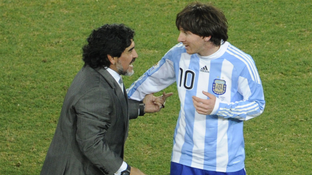 Argentina's Diego Maradona and Lionel Messi at the 2010 World Cup