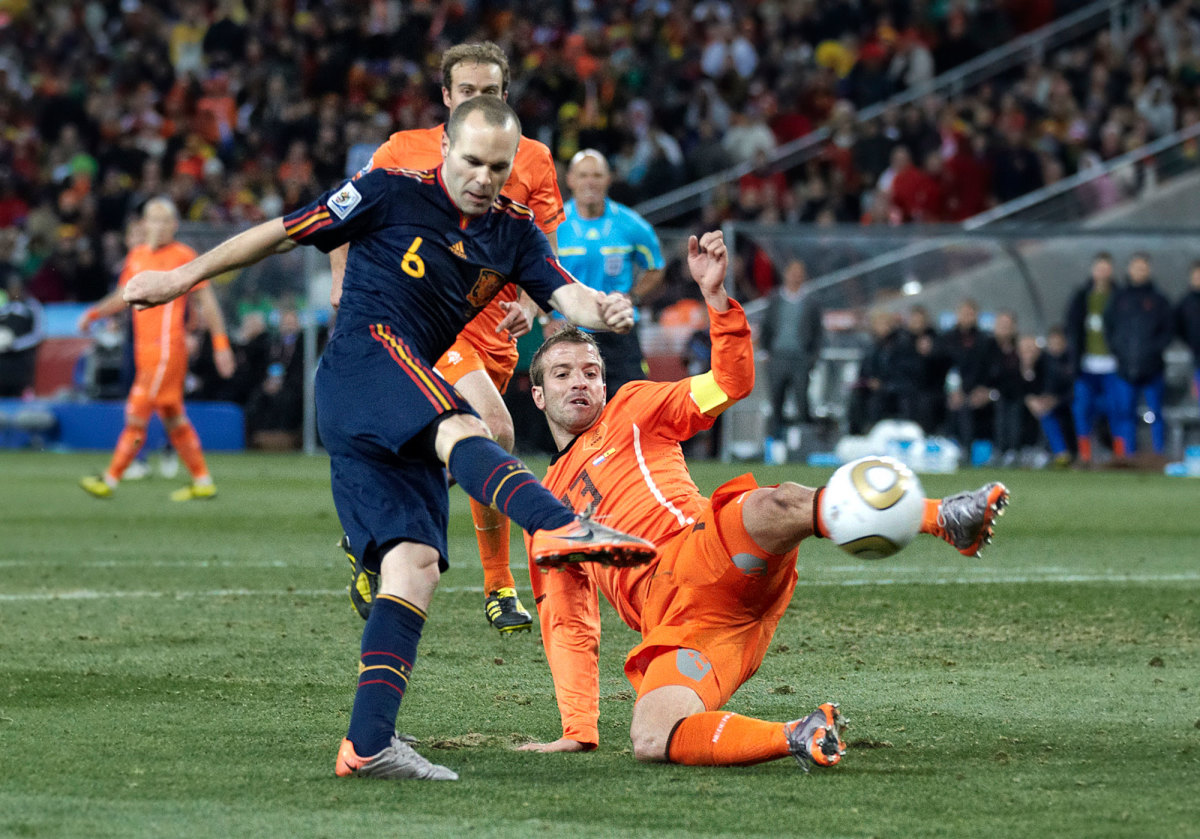 Andres Iniesta scores the 2010 World Cup-winning goal