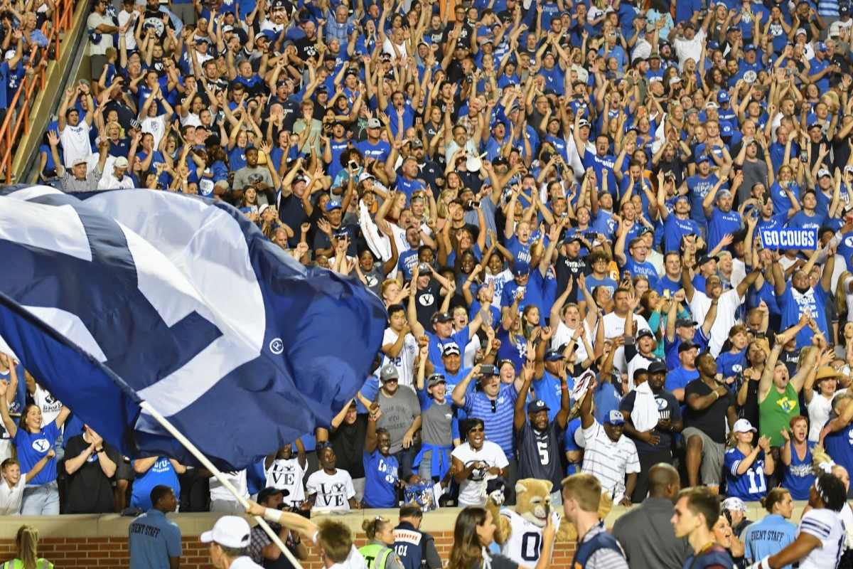 BYU Football fans celebrate the victory over the Tennessee Volunteers in Neyland Stadium