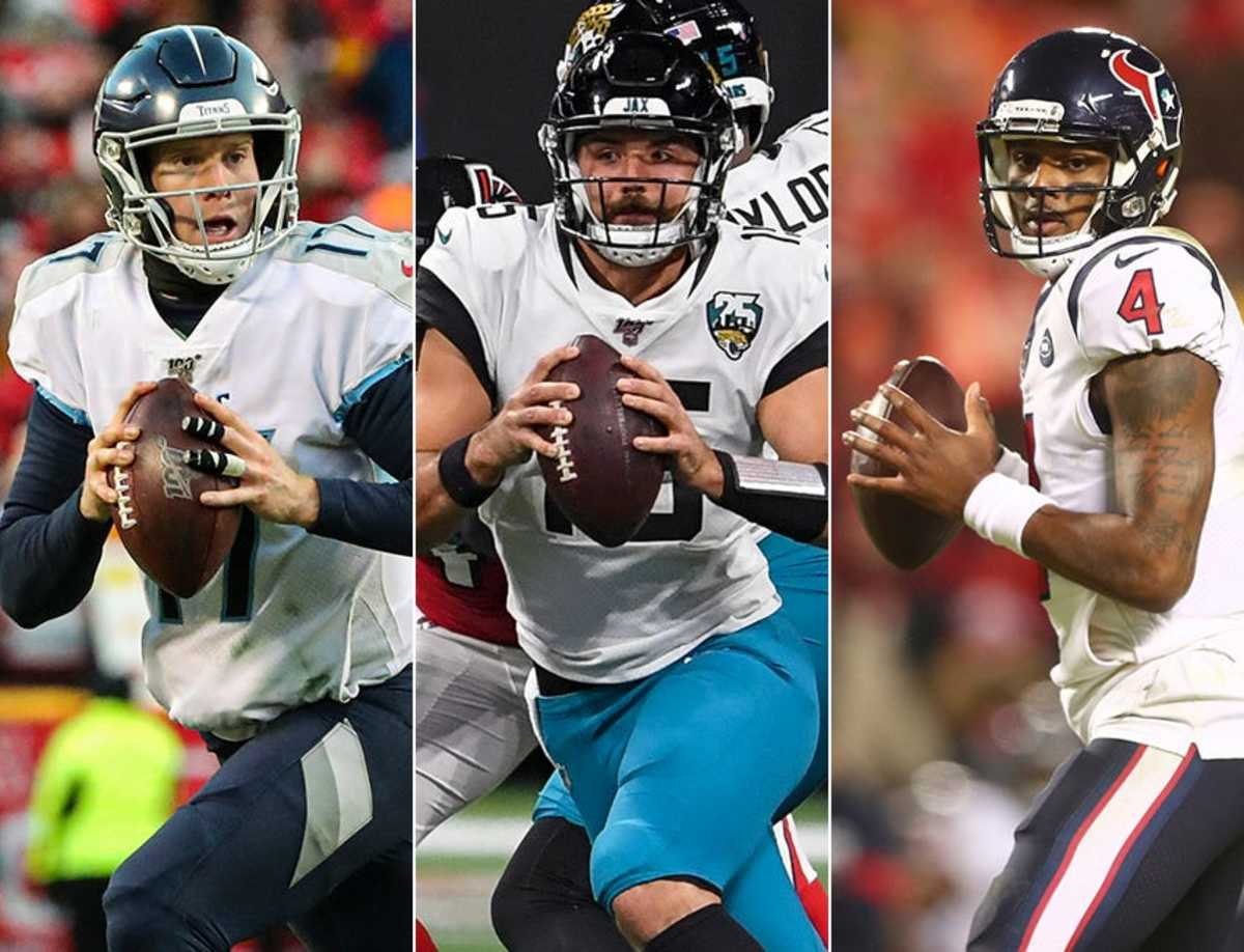 Scheduled starting quarterbacks in the AFC South for 2020: Ryan Tannehill of the Tennessee Titans (from left), Gardner Minshew of the Jacksonville Jaguars and Deshaun Watson of the Houston Texans