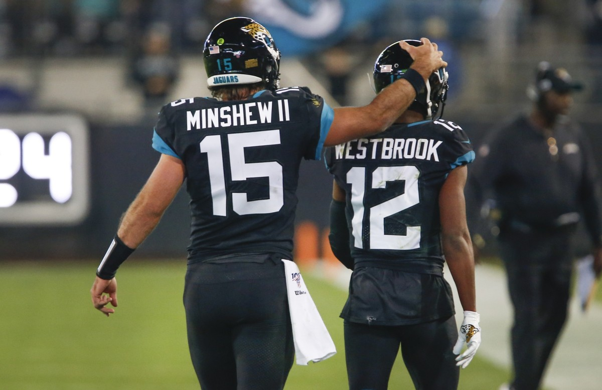 Quarterback Gardner Minshew II and receivers like Dede Westbrook, have found alternative methods to practice during social distancing.Mandatory Credit: Reinhold Matay-USA TODAY Sports