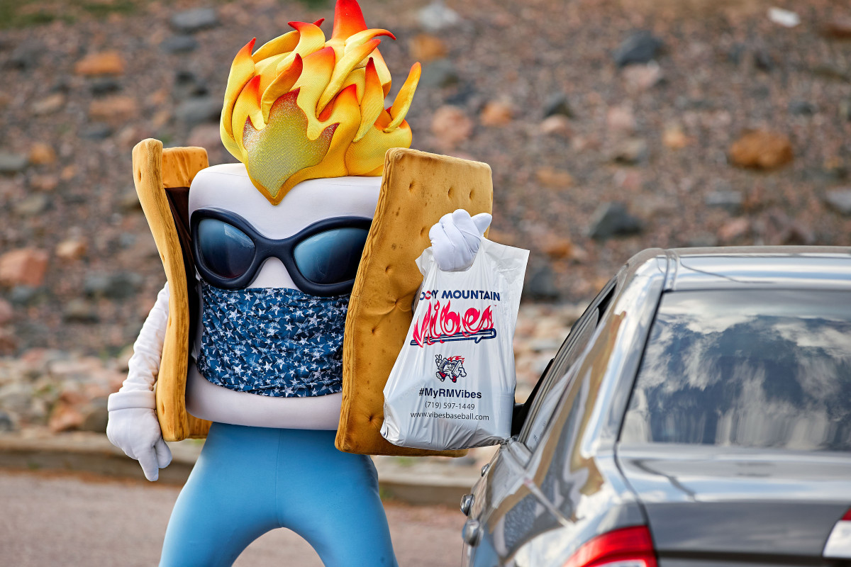 Affiliate Marketing The Vibes' mascot, Toasty, delivered curbside takeout to cars outside the club's Colorado Springs stadium.