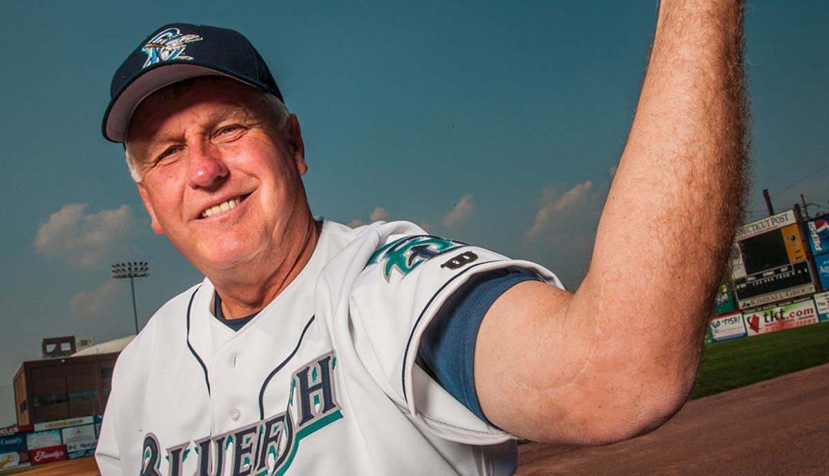 Tommy John shows the body part that gets him more Google hits than any other MLB player, ever.