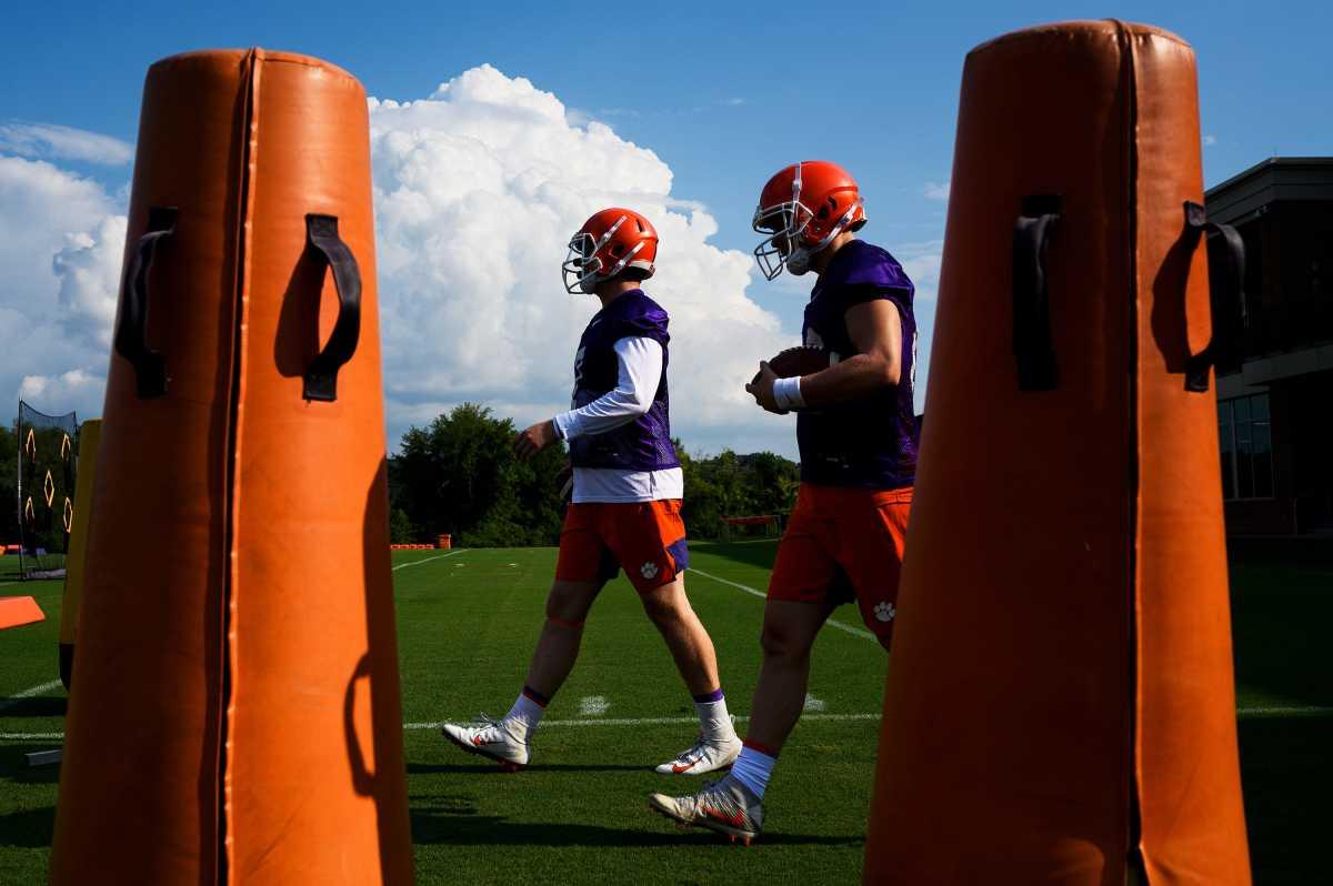Clemson quarterbacks fall practice