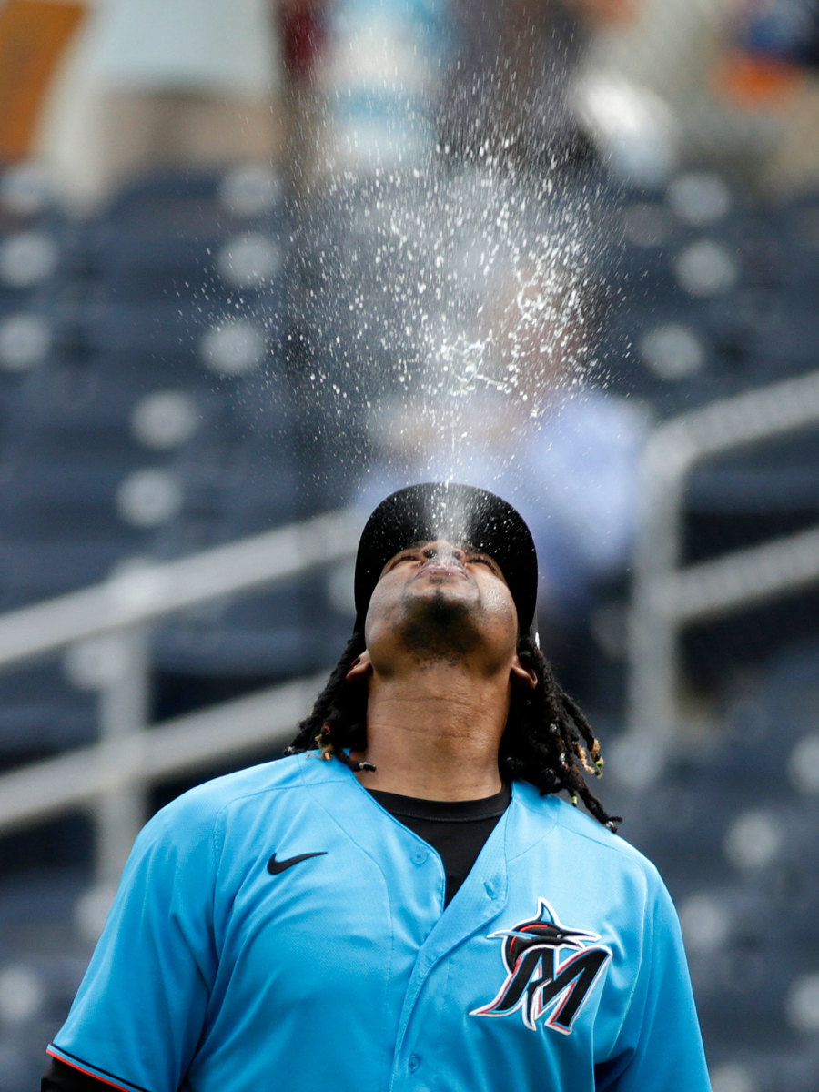 Jose Urena spitting in the air