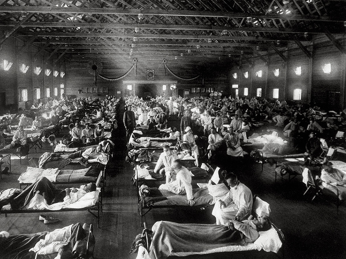 Flu-stricken patients at Camp Funston, in Kansas, where the 1918 pandemic is believed to have first touched the U.S.