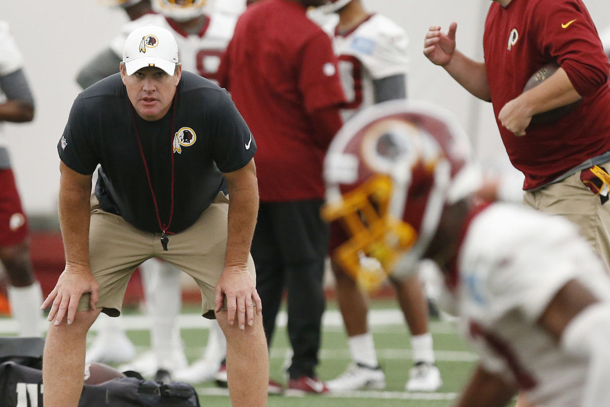 May 10, 2019; Ashburn, VA, USA; Washington Redskins head coach Jay Gruden looks on during drills as part of rookie minicamp at Redskins Park. Mandatory Credit: Geoff Burke-USA TODAY Sports