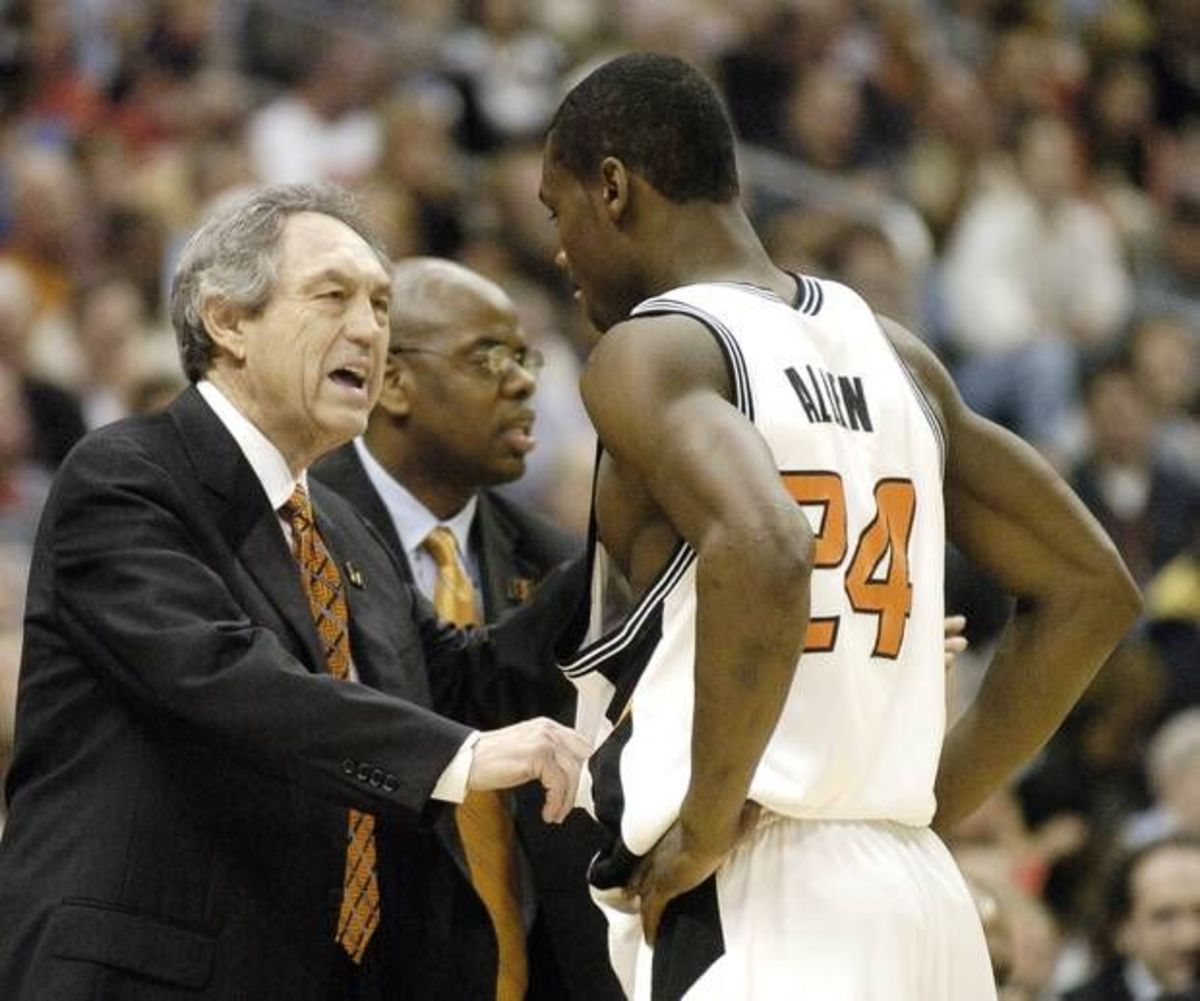 Oklahoma State head coach Eddie Sutton instructing Tony Allen back in his playing days.