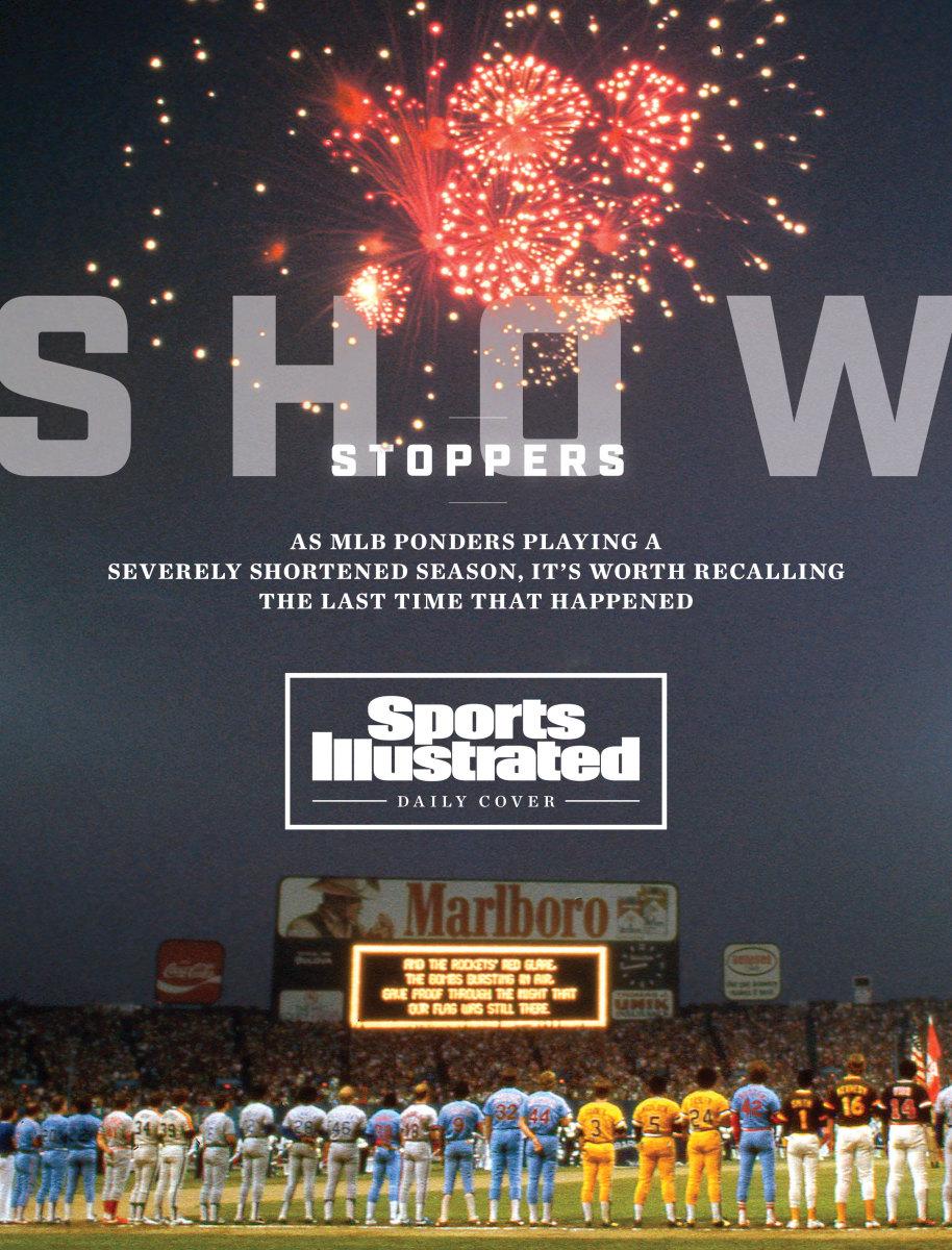 Fireworks explode over the 1981 MLB All-Star Game.