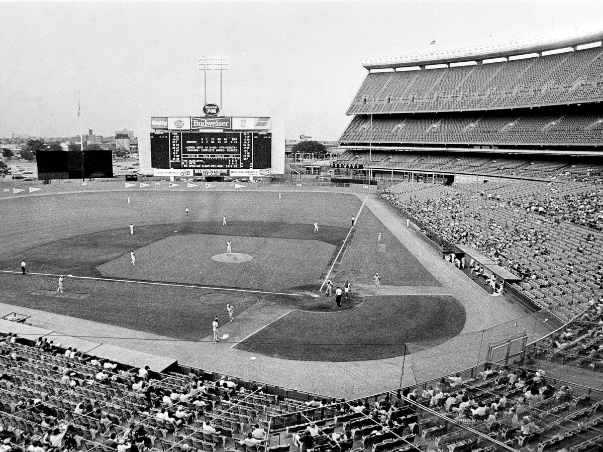 A sparsely-filled stadium hosts a baseball game after the 1981 MLB strike.
