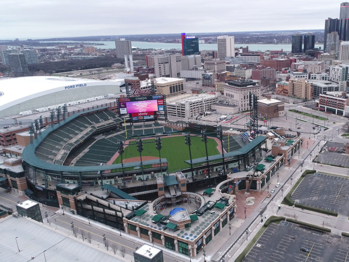 Overhead shot of Detroit skyline and Comerica Park, home of the Tigers.