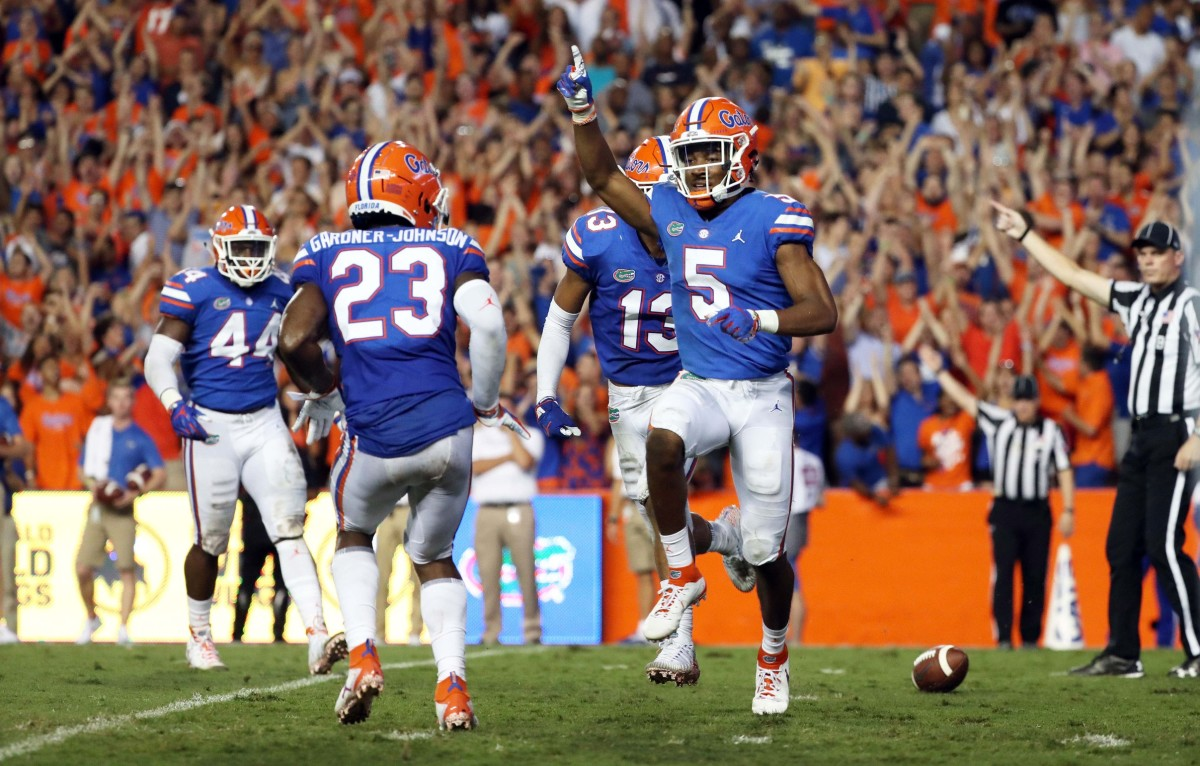 Florida cornerback CJ Henderson, shown reacting to making a play in 2019, was selected ninth overall by the Jacksonville Jaguars in April's NFL draft.