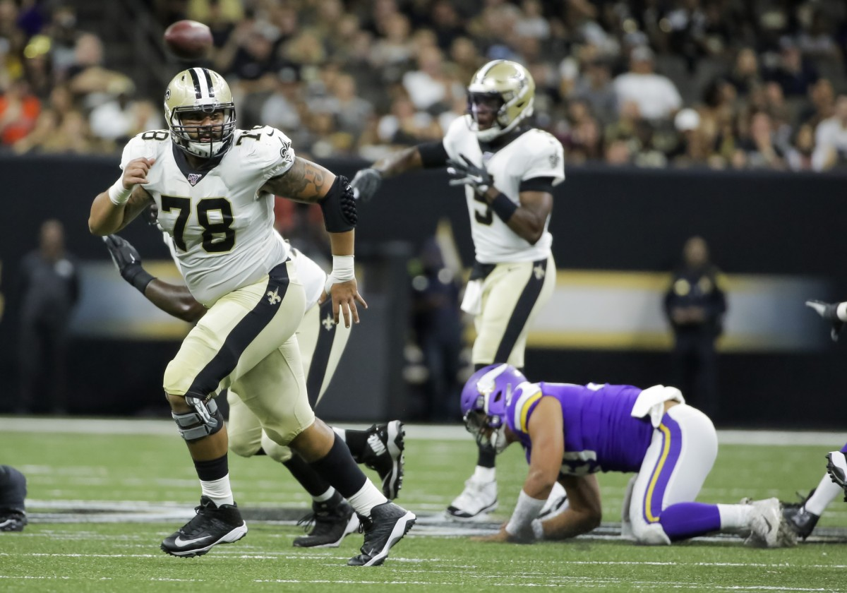 Aug 9, 2019; New Orleans, LA, USA; New Orleans Saints center Erik McCoy (78) blocks on a screen during the second quarter against the Minnesota Vikings at the Mercedes-Benz Superdome. Mandatory Credit: Derick E. Hingle-USA TODAY Sports