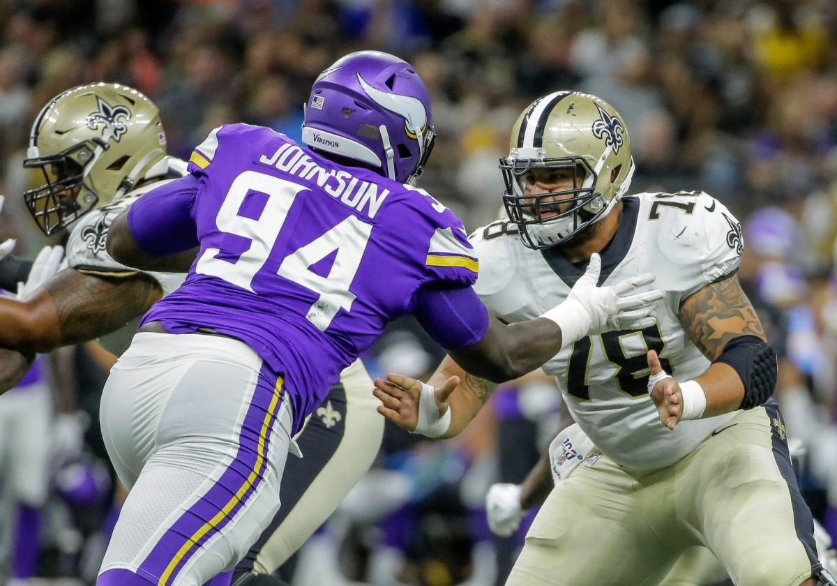 Aug 9, 2019; New Orleans, LA, USA; New Orleans Saints center Erik McCoy (78) blocks against Minnesota Vikings defensive tackle Jaleel Johnson (94) during the first quarter at the Mercedes-Benz Superdome. Mandatory Credit: Derick E. Hingle-USA TODAY Sports