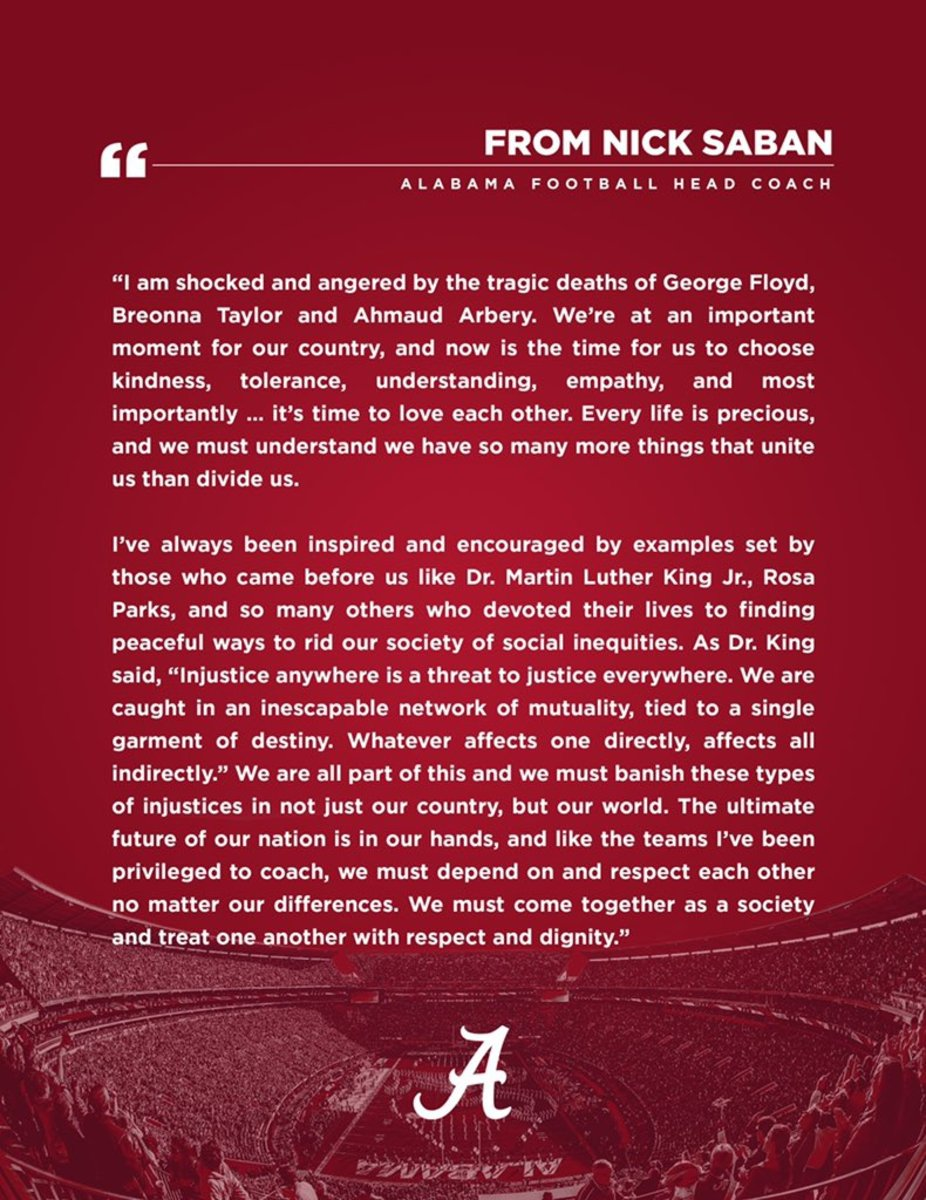 Nick Saban George Floyd Statement