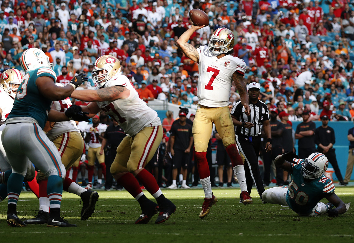 The football case for Kaepernick includes a 2016 season in which he threw 16 TDs (against four INTs), including three scores against the Dolphins.