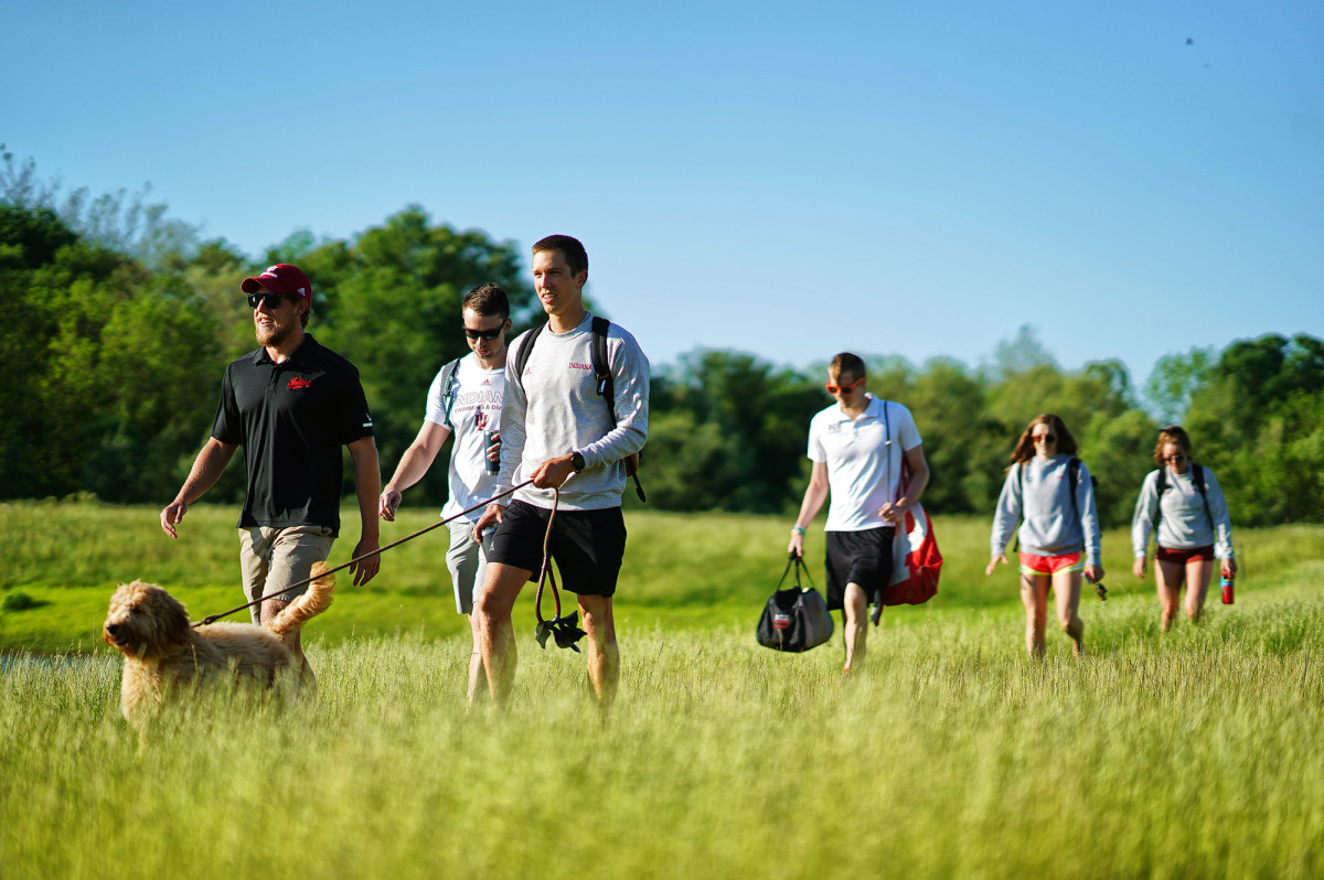 The last day of Pond Camp for Chitwood (far left), Grothe (black bag), Lazor (second from right) and Co.