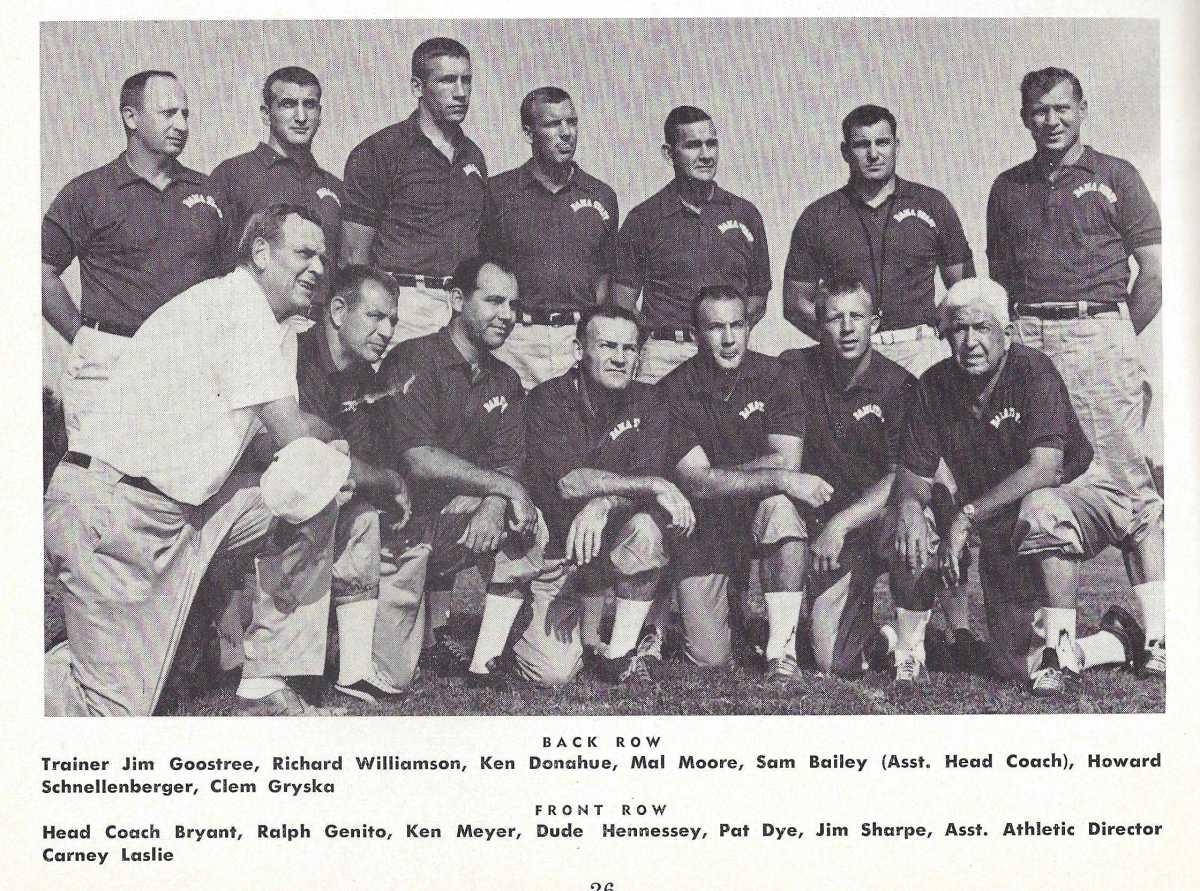 Pat Dye on the Alabama coaching staff