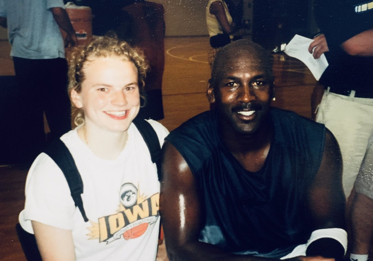 Mary Berdo with Michael Jordan at one of Jordan's camps at Elmhurst College in Chicago, 2001.